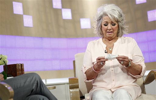 "In this publicity image released by NBC, celebrity chef Paula Deen appears on NBC News' ""Today"" show, wednesday, June 26, 2013 in New York. Deen dissolved into tears during a ""Today"" show interview Wednesday about her admission that she used a racial slur in the past.  The celebrity chef, who had backed out of a ""Today"" interview last Friday, said she was not a racist and was heartbroken by the controversy that began with her own deposition in a lawsuit. Deen has been dropped by the Food Network and as a celebrity endorser by Smithfield Foods. (AP Photo/NBC, Peter Kramer)"